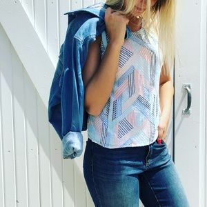 Skies Are Blue Tops - Stitch fix slows are blue embroidered tank Medium